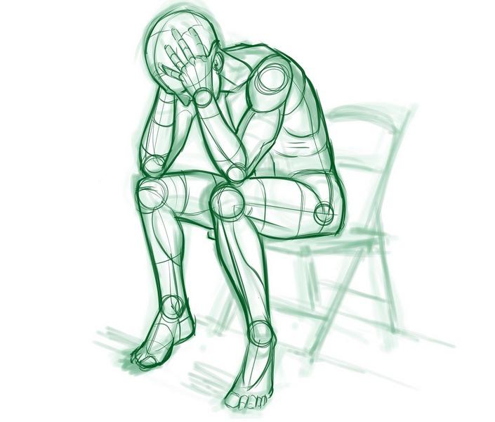 naszkicowana postać zmęczonego człowieka siedzącego na krześle